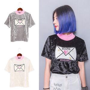 Harajuku-Envelope-Embroidered-Women-T-shirt-Short-Sleeve-Turtleneck-Tee-Top