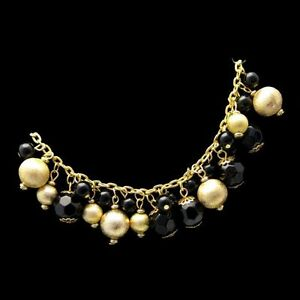 Vintage-Chunky-Dangle-Beads-Runway-Necklace-Black-Glass-Crystals-Gold-Plated