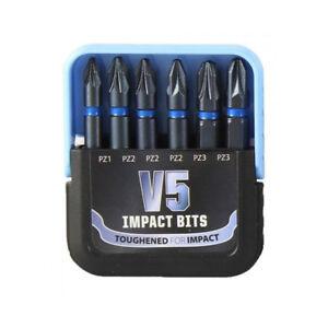 V5 IMPACT POZI BITS PZ1 PZ2 PZ3 50mm | 6 in Set | Fits Makita Dewalt Milwaukee