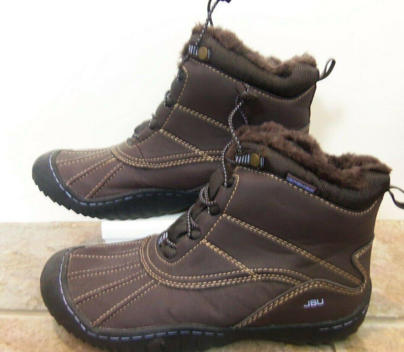 JBU chaussures Météo Prêt bottes Pluie Neige en cuir marron fourrure 8 m NEUF