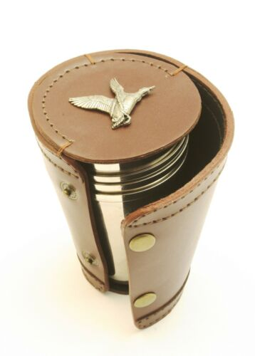 Mallard Shooting 4 Stacking Stirrup Shot Cups in Leather Case NEW