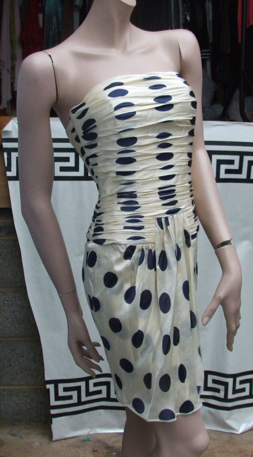 Delightful Cream Silk with Navy Blau Polka Dot Evening Eve Dress XS 6-8