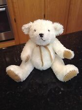 PBK Cream/white teddy bear tan nubuck leather paws gold bow, Pottery Barn Kids