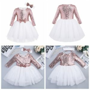 507e9bf7b Kid Baby Flower Girl Sequined Dress Birthday Party Wedding Pageant ...