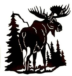 Moose Forest Mountain Tree Scene Vinyl Decal Sticker For