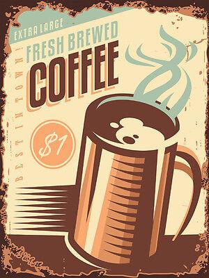 FRIDGE MAGNET COFFEE CAFE METAL VINTAGE RETRO AMERICAN DINER TIN SIGN PLAQUE