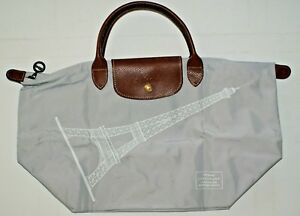 Details About Longchamp Eiffel Tower Le Pliage Handheld Nylon Tote Bag France Light Grey Nwt