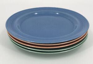 Set of 5 Vintage Japan Stoneware Dinner Plates Pink Blue & Peach