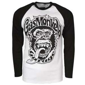 Official-Mens-Gas-Monkey-Garage-04-Baseball-Long-Sleeve-T-Shirt-White-Raglan-NEW