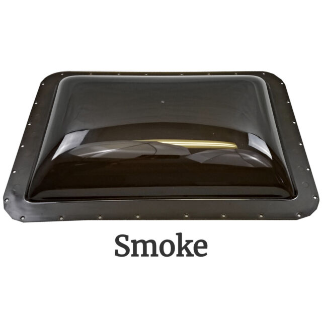 RV Exterior Skylight Dome 26 x 18in OD Roof Flange Vent Trailer Motorhome Smoke