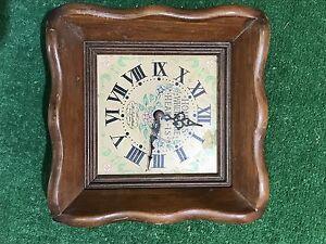 Vintage-New-England-Clock-Company-Wall-Clock-Wood-Rare-Fast-Free-Shipping
