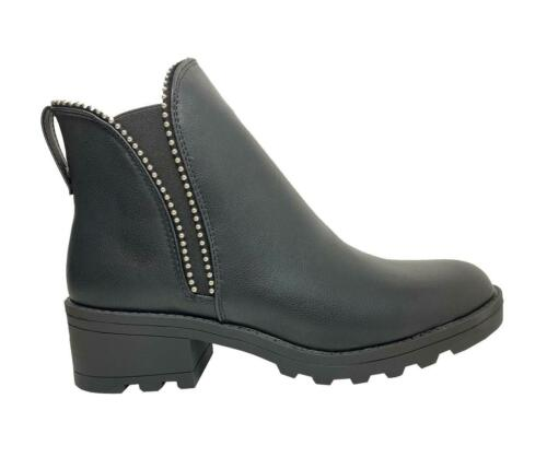 New Womens Ladies Mid Block Chunky Heel Diamante Chelsea Ankle Boots Shoes Size
