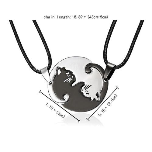 2PCS//Set TitaniumSteelAnimals Cat Pendants Necklaces Couples Necklaces JewelryWR