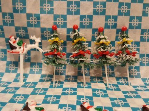 Santa Sleigh with Deer Trees 12 Cupcake Picks Christmas Holiday Cake Toppers