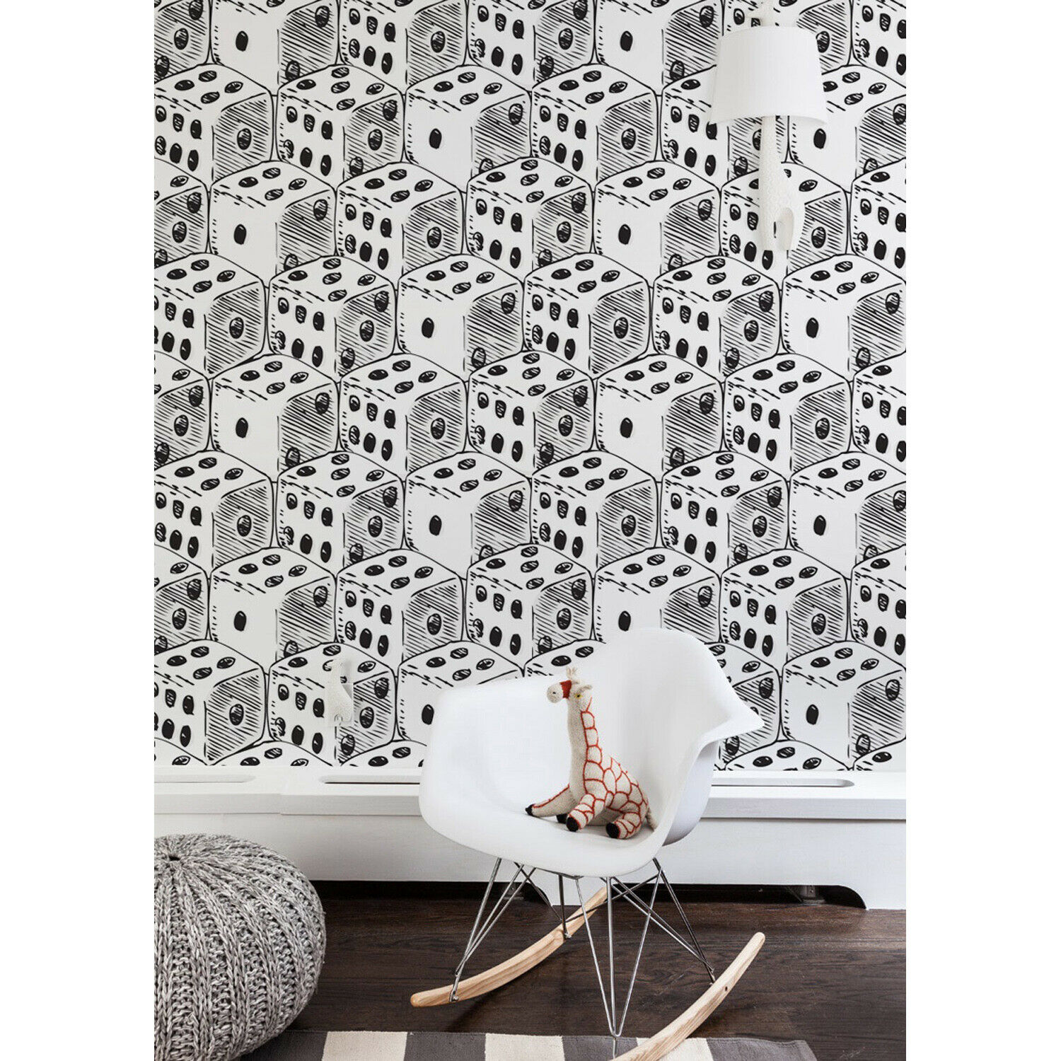Dot Cubes vintage retro nursery decal large wall mural adhesive white
