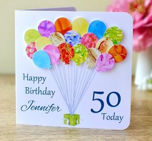 Image Is Loading Personalised 50th Birthday Card Handmade Balloons Mum