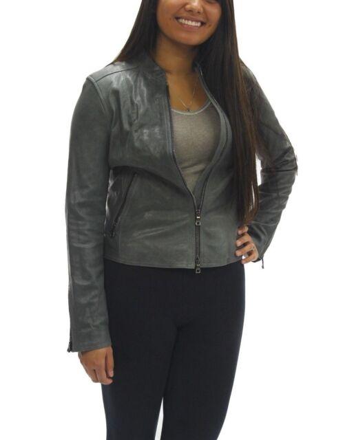 8c46d83c9 Women's Coach Kra Leather Racer Slate Grey Jacket Sz. Small MSRP $798
