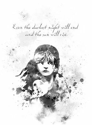 Victor Hugo Quote Wall Art B /& W Film ART PRINT Les Miserables illustration