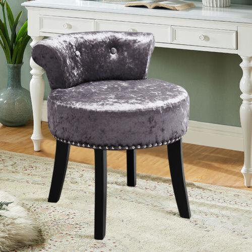 Ice Velvet Padded Footstool Pouffe Footrest Makeup Dressing Table Stool Chair UK