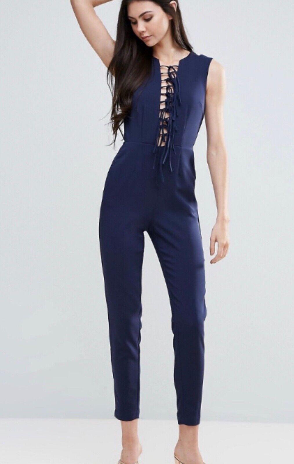 Lavish Alice Womens Jumpsuit 12 navy bluee tassels