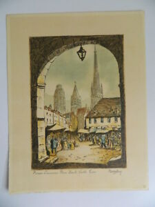Rouen L' Alte Platz Hohe Turm Graviert Unterzeichnet Am Bleistift Barday Anfang