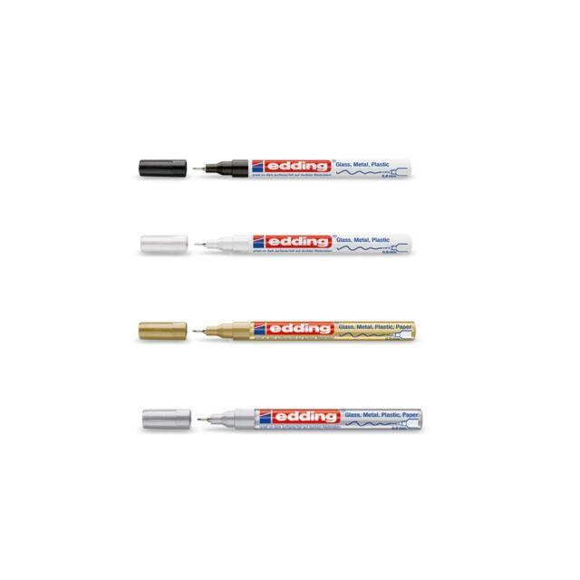 EDDING  780 Lackmarker Lackstift  Marker 0,8 mm  gold silber schwarz weiß