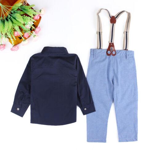 Suspender Pants Outfits Clothes Set 2Pcs Kids Boy Formal Suit Dress Shirt Tops