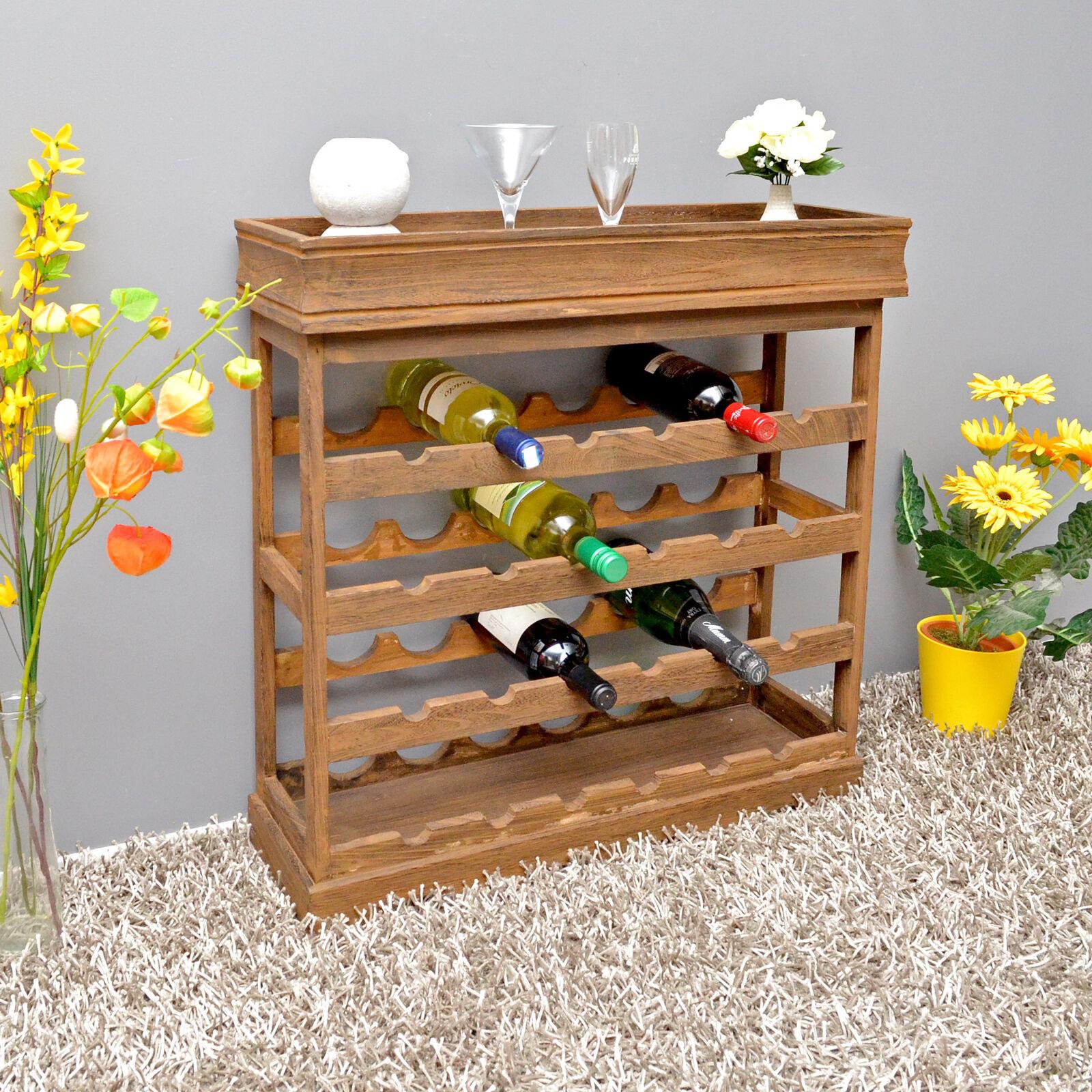 Botellero de madera marron oscuro para 24 botellas de vino
