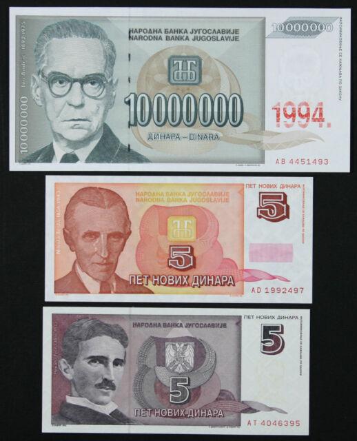 YUGOSLAVIA Set of 3 Notes - 5-10 Million Dinara 1994 - P 144 146 148 (UNC)