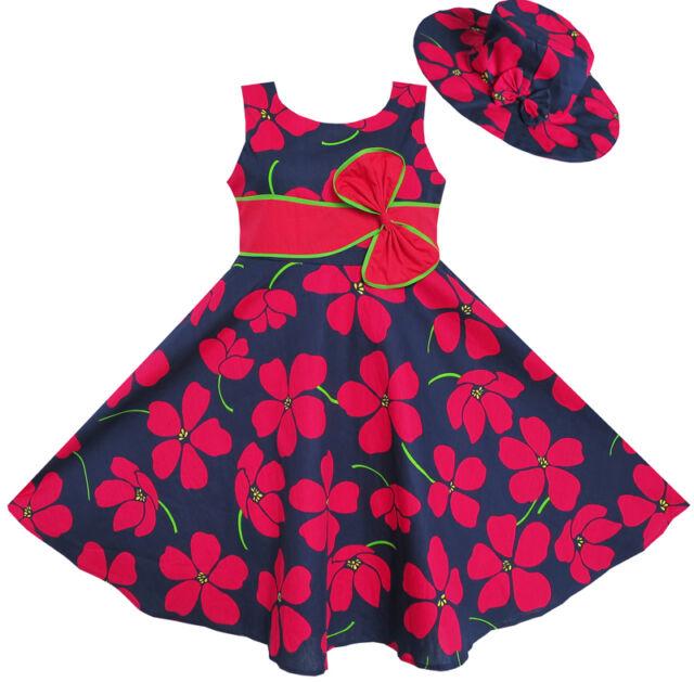Sunny Fashion 2 Pecs Girls Dress Sunhat Bow Tie Flower Summer Beach 4-12