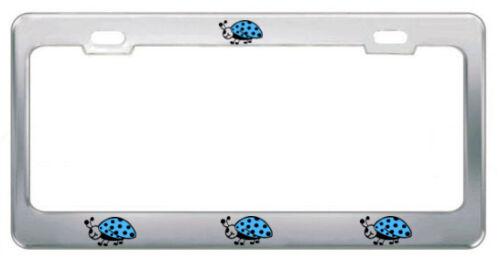 LADYBUGS STEEL HEAVY DUTY CHROME License Plate Frame Tag Border LIGHT BLUE