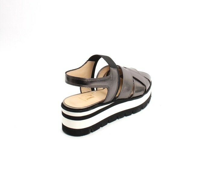 Luca Grossi 001a Pewter Gunmetal Leather Leather Leather Elastic Platform Sandals 39   US 9 98d1d4