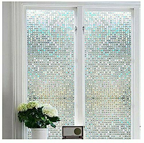 """Stained Glass Window Film Non-Adhesive Privacy Window Covering 17.7/"""" x 75.7/"""""""