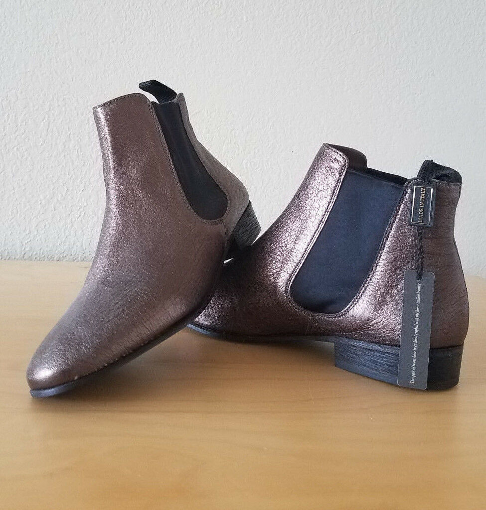 NWT BOEMOS VERO CUOIO LEATHER BRONZE ANKLE BOOTS 38   7