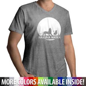 Disney-Lion-King-Hakuna-Matata-Funny-Mens-Ultra-Soft-Cotton-V-Neck-T-Shirt