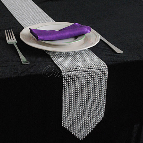 Rhinestone Diamond Mesh Table Runner Wedding Party Cake Flower Table Cover Decor
