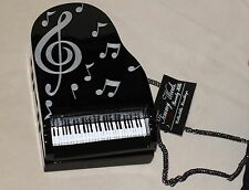 TIMMY WOODS PIANO Keyboard Black White Acacia BABY GRAND CLUTCH Purse MINAUDIERE