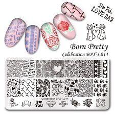BORN PRETTY Feier Nagel Kunst Stamping Platte Schablone Valentinstag Maniküre