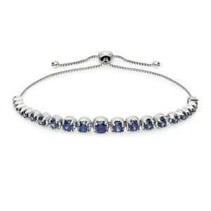 Sterling-Silver-Blue-Cubic-Zirconia-Round-Graduated-Adjustable-Bolo-Bracelet