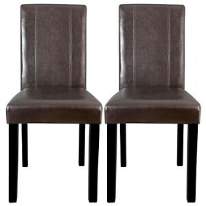 Dining-Parson-Chair-Set-of-2-Armless-Kitchen-Room-Brown-Leather-Backrest-Elegant