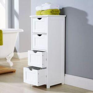 style 4 drawer bathroom cabinet standing storage unit cupboard white