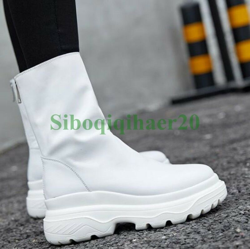 Punk Womens Genuine Leather Leather Leather Pull On Ankel Boots Wedge Heel shoes Winter shoes SI 3dcd34