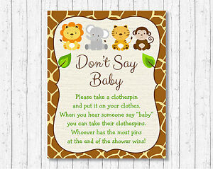 graphic regarding Don T Say Baby Game Printable known as Data around Adorable Jungle Safari Pets Dont Say Kid Child Shower Match Printable