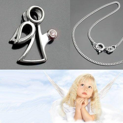 moderner Schutz Engel Kontur Anhänger mit Zirkonia Stein und Kette Silber 925