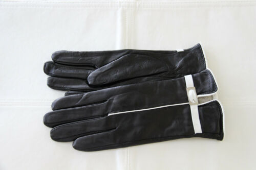 Stylish Women/'s Genuine Lambskin Leather Wrist Gloves Black with White Trim