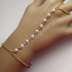 sklavenarmband armband ring handschmuck perlen bollywood hochzeit gold wei ebay. Black Bedroom Furniture Sets. Home Design Ideas