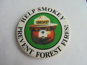 Vintage Smokey the Bear Button Pin Please Prevent Forest Fires