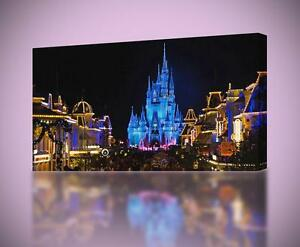 Details About Disney Castle At Night Canvas Print Home Wall Decor Giclee Art Poster Ca559