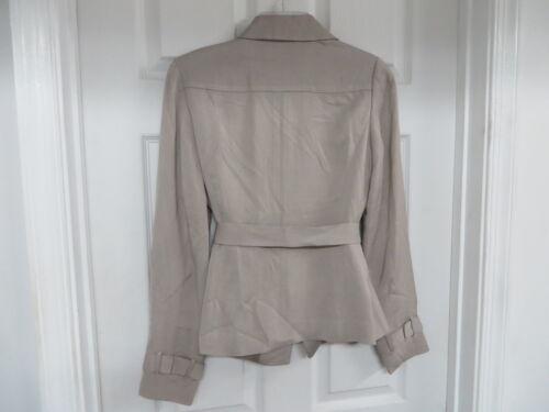 classico e viscosa beige Blazer lino Nwot in piccolo cerniera cintura con lampo con vUH1w