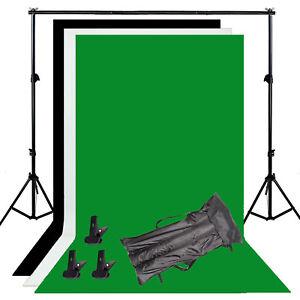 Photography-Background-Stand-Kit-Photo-Studio-Black-White-Green-Backdrop-Set